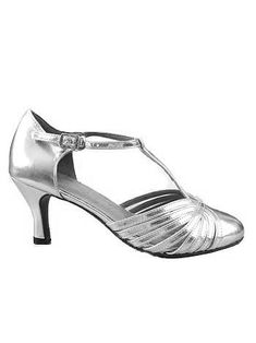 1e5603e9eb5663 1920s Inspired Silver Leather T Strap Heels - Reminds me of Belle's  t-straps in