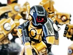 I've just finished painting a squad of Breachers for my Tau Empire army. I've recently been going through my Tau collection and repainting. Tau Warhammer, Warhammer 40k Figures, Warhammer 40k Miniatures, Tau Army, Warhammer Tabletop, Fire Warrior, Tau Empire, Space Wolves, Geek Culture