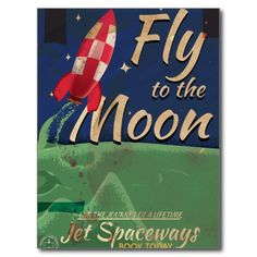 Fly me to the Moon Vintage Travel poster Postcard