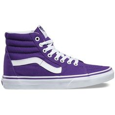 Vans Canvas Sk8-Hi ($60) ❤ liked on Polyvore featuring shoes, sneakers, purple, canvas sneakers, lace up sneakers, high top canvas shoes, purple shoes and purple high tops