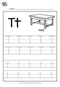 Free Letter T Tracing Worksheets Letter T Activities, Letter Worksheets For Preschool, Alphabet Tracing Worksheets, Printable Alphabet Letters, Alphabet Writing, Tracing Letters, Kindergarten Worksheets, Kindergarten Class, Preschool Printables