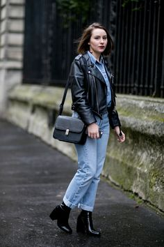 All jeans with leather boots and a black leather jacket. Spotted streetstyle on the Paris Fashion Week.