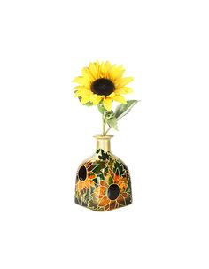 "Hand Painted Glass ""Patron"" bottle Sunflower design Summer Home Decor - Decorative Glass Art on Etsy, $130.00"