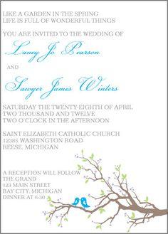 Adorable love birds invitation!