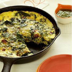 Spoil your mom with this Frittata With Ricotta and Mixed Green #breakfast dish | Health.com