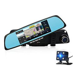"""From 103.46:Car Camera Dvr 6.86"""" Dual Lens Dash Cam Car Gps Navigation With Rearview Mirror 1080p Video Recorder Camera By Junsun"""