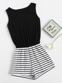 Black Striped Mix and Match Sleeveless Romper