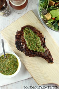 Grilled Steak with Basil Chimichurri Sauce - Solid Gold Eats