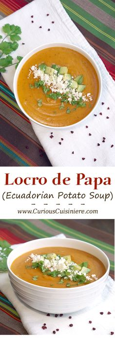 This Cheesy potato soup from Ecuador is sure to be a fall favorite. #SundaySupper | www.CuriousCuisiniere.com