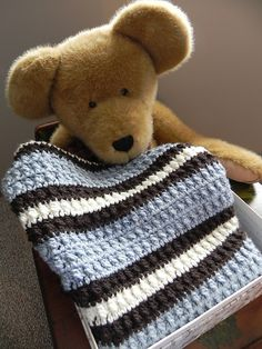 Blue stripe baby blanket - LOVE the colors!
