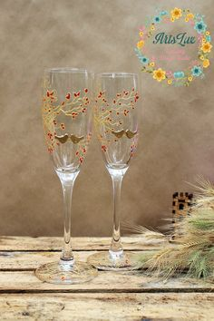 Hand painted Wedding champagne Glasses Birds on the