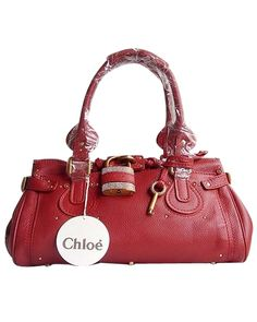 Chloe Paddington Satchel Chaton Lock Bag Red