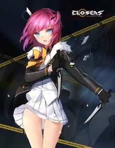 closers lee seulbi swd3e2 1girl bare thighs blue eyes breasts dagger gloves…