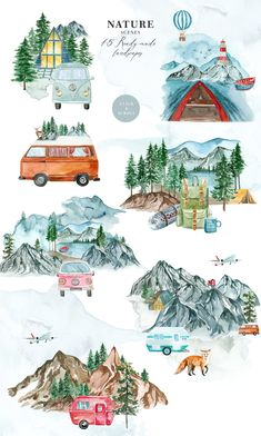 Wilderness A Visual Storytelling - Design Cuts Watercolor Map, Watercolor Landscape, Watercolor Paintings, Fun Illustration, Watercolor Illustration, Design Illustrations, Muse Kunst, Create Your Own Story, Muse Art