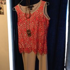 Top Orange lace with cream lining short sleeve beautiful topgoes with almost any color Leslie Stuart Tops