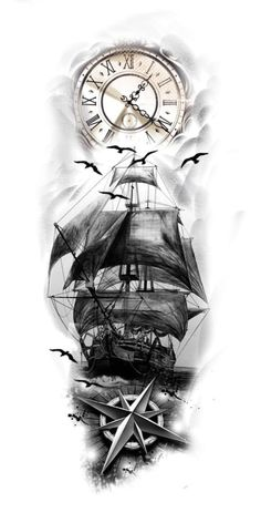 One Piece Tattoos, Cool Chest Tattoos, Girl Arm Tattoos, Cool Forearm Tattoos, Leg Tattoos, Body Art Tattoos, Tattoos For Guys, Pirate Ship Tattoos, Pirate Tattoo