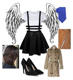 """Castiel gender bent"" by hannahkatelow on Polyvore featuring RE/DONE, Geoffrey Beene, CHARLES & KEITH and Banana Republic"
