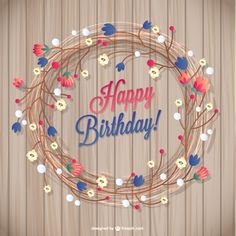 Floral birthday card Free Vector EXCLUSIVE FOR FREEPIK