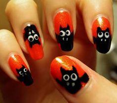 DIY halloween nails: DIY Halloween nail art : Silly Bats  Halloween Challenge Bats
