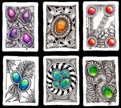 Julia Lartceva Tangle Doodle, Tangle Art, Zen Doodle, Doodle Art, Zentangle Drawings, Doodles Zentangles, Zentangle Patterns, Gem Drawing, Art Pierre