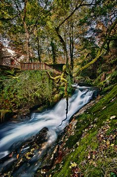 Autumn waterfall at San Xusto, Galicia, Spain