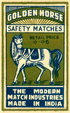 Safety Match, Golden Horse. The Modern Match Industries Made in India. Printed in two color spot with Blue and Green.