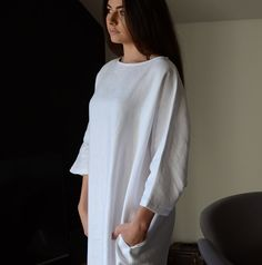 Pure linen loungewear collection in soft, heavyweight pure linen fabric. Stylish slouch dresses in white or black linen. Made in the UK. Linen Fabric, Linen Bedding, Black Linen, Stylish Dresses, Loungewear, Nightwear, Style Me, White Dress, Normcore