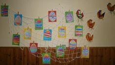Duben, Velikonoce - vejce křídami.