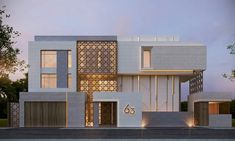 880 m private villa kuwait sarah sadeq architects Modern Architecture House, Islamic Architecture, Facade Architecture, Facade Design, Exterior Design, Exterior Rendering, Exterior Signage, Exterior Stairs, Exterior Lighting