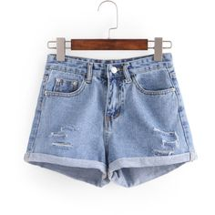 Ripped Rolled Hem Denim Shorts ($15) ❤ liked on Polyvore featuring shorts, blue shorts, bleached shorts, distressed jean shorts, bleached jean shorts and bleached denim shorts