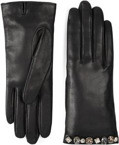 Crystal embroidered leather gloves