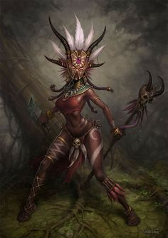 """The female """"wizard"""" or """"witch doctor"""" class in Diablo 3 falls into the trope. I play a wizard in Diablo my favourite character. Foto Fantasy, Dark Fantasy, Fantasy Art, Witch Doctor, Doctor Mask, Black Women Art, Black Art, Fantasy Characters, Female Characters"""