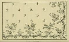 Riscos de bordados antigos (1821 a 1825)  link:  http://www.ekduncan.com/2011/10/regency-era-needlework-patterns-from_12.html  EKDuncan - My Fanciful Muse: Regency Era Needlework Patterns from Ackermann's Repository 1821-1825