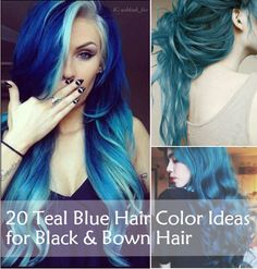 Teal Blue and green Hair Color Ideas for Black & Bown Hair, wonderful ombre and wavy hair style~