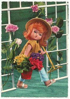 VINTAGE KRUGER DOLLS GIRL WITH FLOWERS POSTCARD Vintage Artwork, Vintage Images, Vintage Postcards, Girls With Flowers, Old Cards, Vintage Dolls, Retro Vintage, My Childhood, Doll Toys