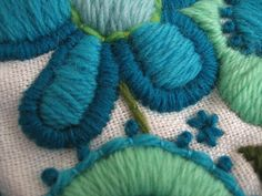 Vintage Embroidered Blue Floral Yarn Fabric by vintagecarliss