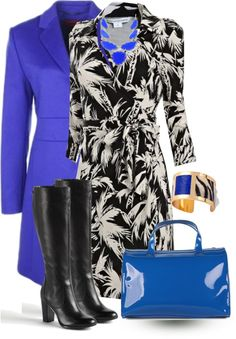 """""""Black & White Palm Print Dress with Cobalt for Work"""" by trinavokes on Polyvore"""