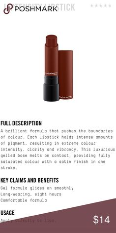MAC Liptensity Lipstick Color is double fudge. New without box. Gorgeous, rich color! MAC Cosmetics Makeup Lipstick