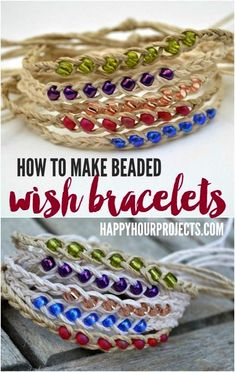 How to Make Woven Wish Bracelets at https://ift.tt/1f8Mx0M | Great summer project! Cheap and quick to make it's a perfect camp craft or group craft!