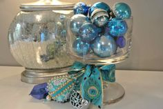 Vintage Christmas Ornament Blue Collection of 20 Shiny Brite Great Balls via Etsy