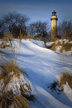 Lighthouse...Grosse Point seen from wintry dunes.