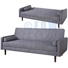 Kato Mid-Century Modern Sofa Bed in Gray Fabric | FOW