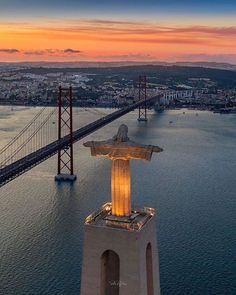 Lisbon from across the bridge - Portugal Places In Portugal, Spain And Portugal, Portugal Travel, Wonderful Places, Beautiful Places, Amazing Places, Portuguese Culture, Historical Monuments, Travel Memories