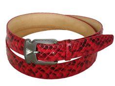 Red lucid python belt for women