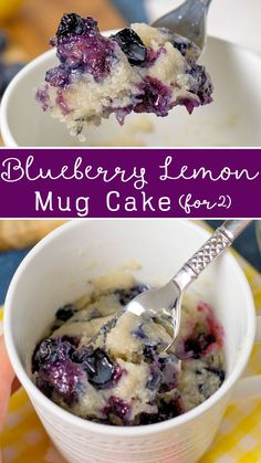 This Microwave Blueberry Lemon Mug Cake for Two is a simple dessert using fresh or frozen blueberries. Great for lazy evenings when you just need a quick little treat! # mug cake Microwave Blueberry Lemon Mug Cake for Two Mini Desserts, Blueberry Desserts, Easy Desserts, Delicious Desserts, Dessert Recipes, Blueberry Cake, Quick Simple Desserts, Blueberry Mug Muffin, Muffin In A Mug