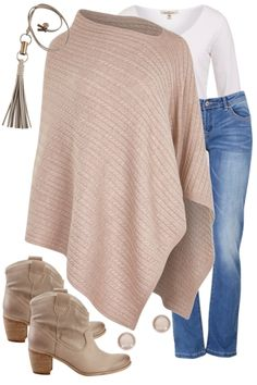 The Long Sleeve V Neck Tee Versatile Poncho Outfit includes bird keepers, boho bird, and Felmini - Birdsnest Buy Online Source by casual como combinar verano Mode Outfits, Fashion Outfits, Womens Fashion, Fashion Trends, Fashion Styles, Fashion Ideas, Casual Winter Outfits, Fall Outfits, Outfits With Ponchos