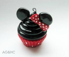 Minnie Mouse Cupcake Clay Charm Handcrafted by AGirlandHerClay Polymer Clay Disney, Polymer Clay Charms, Disney Inspired Jewelry, Character Cupcakes, Cave, Minnie Mouse, Charmed, Personalized Items, Disney Princess
