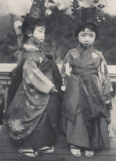"These children perform certain duties in a Shinto  temple, nowadays mostly dancing and taking part in a parade.""  For centuries prepubescent children in Japan have been chosen as chigo, or ""divine children"", who do divination and function as oracles.  Image via A Davey of Flickr"