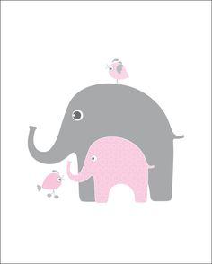 8X10 Pink and gray nursery wall decor, elephant kids wall art, print of the month, childrens bird wall decor, girls room decor, kids prints