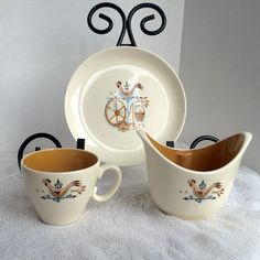 Vintage China Rooster Weathervane Teacup Luncheon Plate and Sugar Bowl Set by Taylor Smith and Taylor by vintagepoetic on Etsy